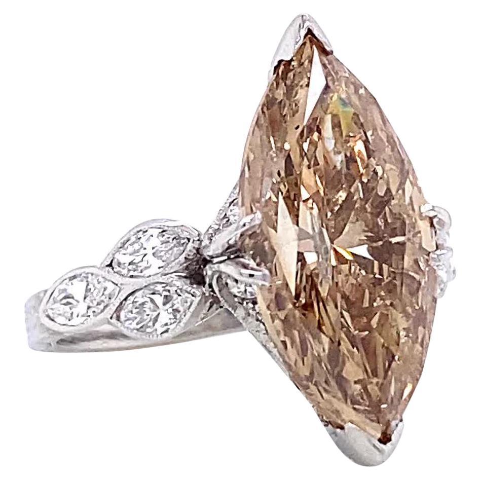 Vintage Fancy Brown Marquise Cut Diamond Platinum Engagement Ring