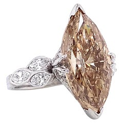 Vintage Fancy Brown Marquise Cut Diamond Platinum Engagement Ring