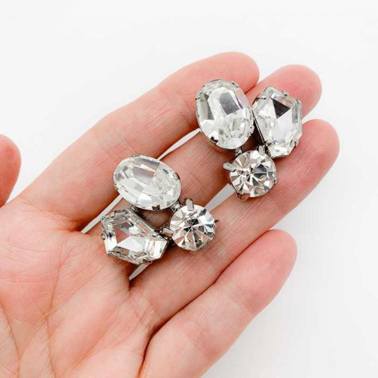 Vintage Fancy Cut Crystal Trio Earrings 1980s In Good Condition For Sale In Wilmslow, GB