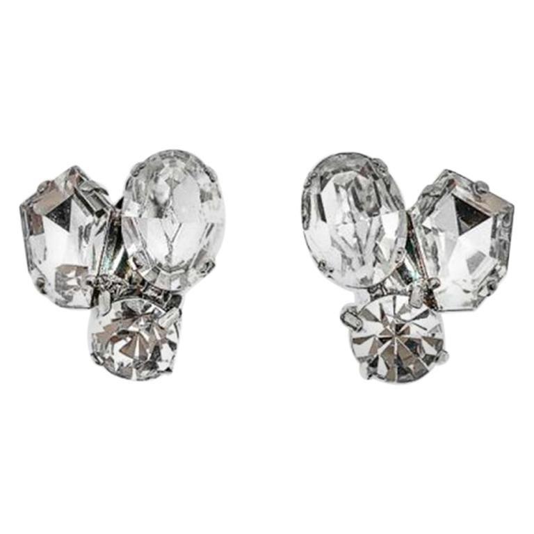 Vintage Fancy Cut Crystal Trio Earrings 1980s For Sale