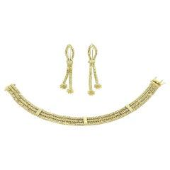 Vintage Fancy Designer Woven Chevron Star Clip Earrings & Bracelet Set 14k Gold