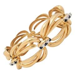 Vintage Fancy Open-Link Diamond and Sapphire Bracelet