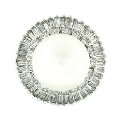 Vintage Fancy Platinum White Pearl 2.80ct Baguette Diamond Ballerina Ring