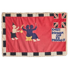 Vintage Fante Asafo Flag in Cotton Applique Patterns, Ghana, 1950s