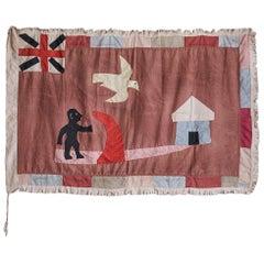 Vintage Fante People Asafo Flag in Cotton Appliqué Patterns, Ghana 20th-Century