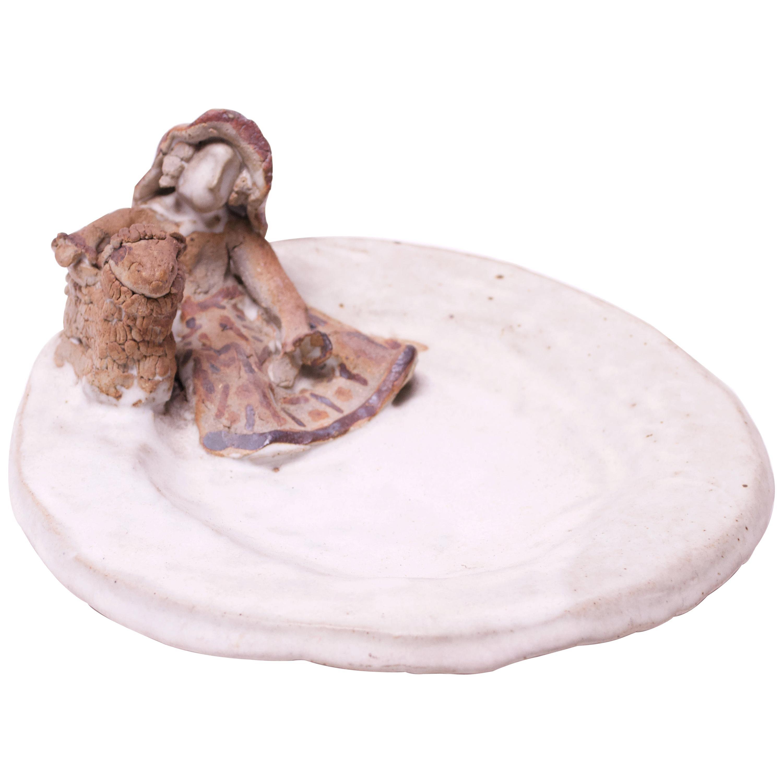 "Vintage ""Farm Girl with Lamb"" Decorative Stoneware Figural Plate"