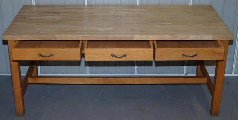 Vintage Farmhouse Kitchen Dining Table Six-Drawer with Scrub Work Block Top 6