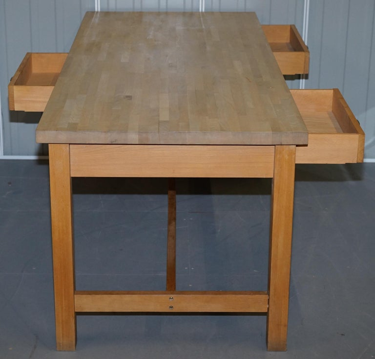 Vintage Farmhouse Kitchen Dining Table Six-Drawer with Scrub Work Block Top 7
