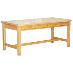 Vintage Farmhouse Kitchen Dining Table Six-Drawer with Scrub Work Block Top