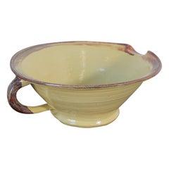 Vintage Farmhouse Style Glazed Stoneware Pottery Mixing Bowl with Handle
