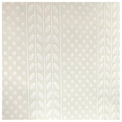 Vintage Farrow and Ball the Polka Sprig Hand-Painted Wallpaper, Cream, Beige