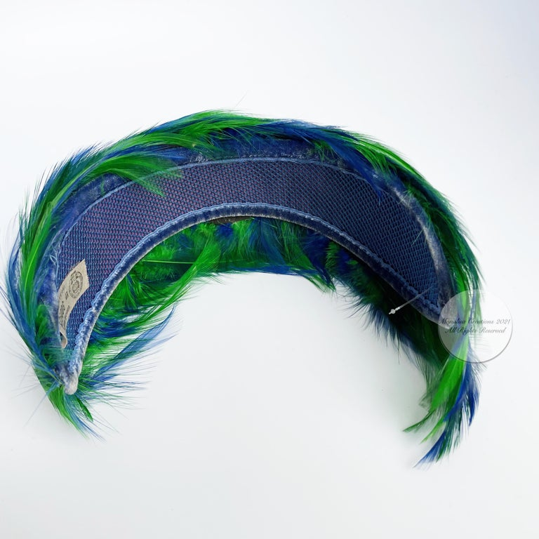 Vintage Fascinator Hat with Peacock Color Feathers OSFM For Sale 5