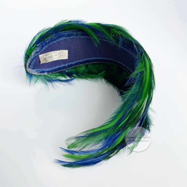 Vintage Fascinator Hat with Peacock Color Feathers OSFM For Sale 6