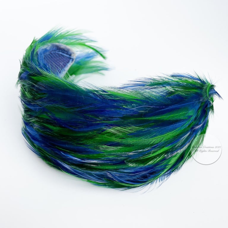 Women's or Men's Vintage Fascinator Hat with Peacock Color Feathers OSFM For Sale