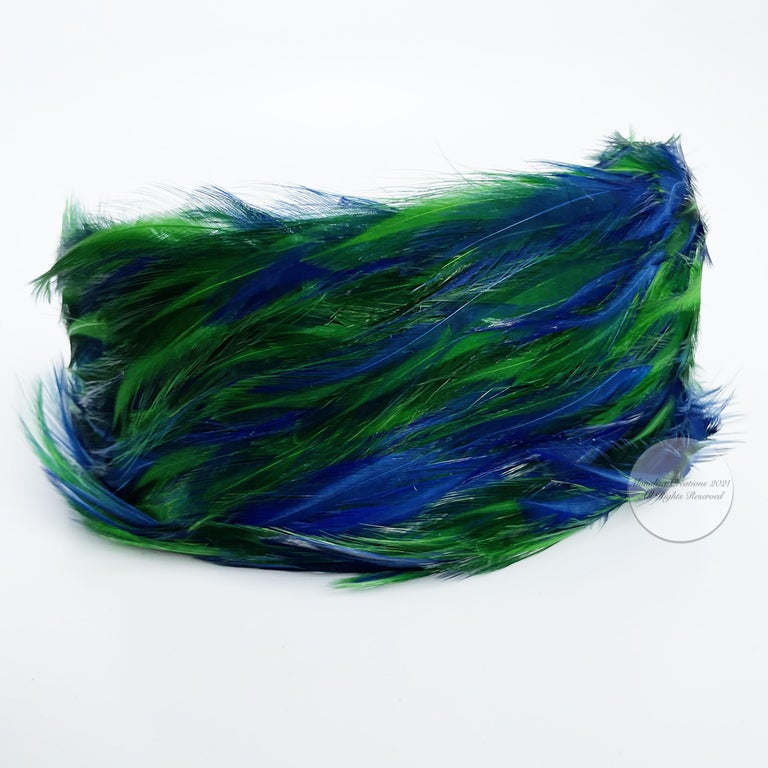 Vintage Fascinator Hat with Peacock Color Feathers OSFM For Sale 3
