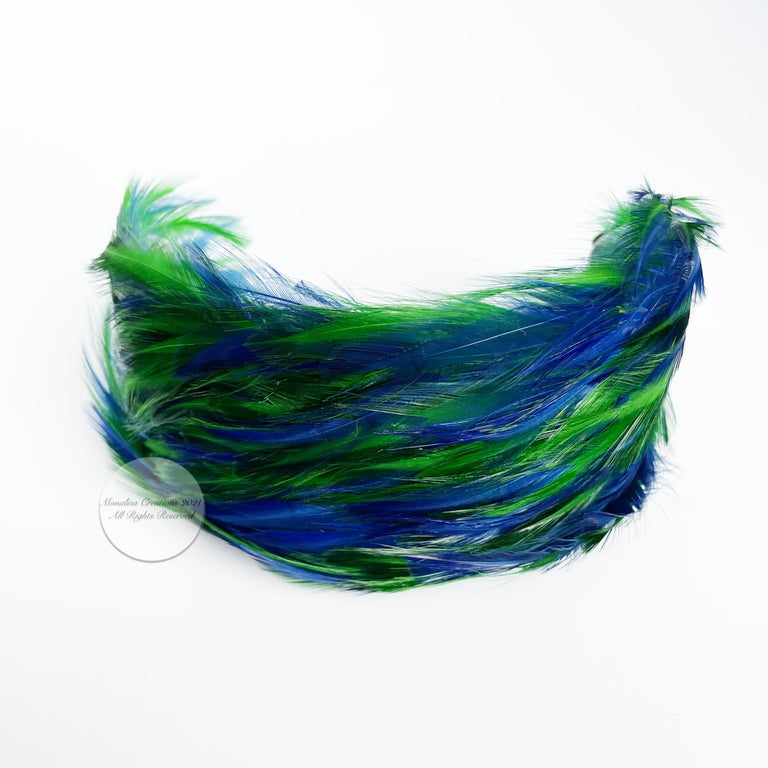 Vintage Fascinator Hat with Peacock Color Feathers OSFM For Sale 4