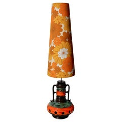 Vintage Fat Lava Floor Lamp Orange and Green Drip-Glazes, Lampshade of Marigolds