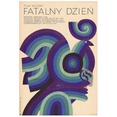 """Vintage """"Fatalny Dzień"""" Polish Movie Poster by Andrzej Bertrandt, 1970"""