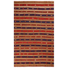 Vintage Fathiye Geometric Beige-Brown Wool Kilim with Red and Navy Blue Stripes
