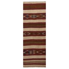 Vintage Fatiye Beige Brown Wool Kilim Rug with Crimson Red and Navy Blue Accents