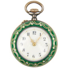 Vintage Fauvette Sterling and Enamel Open Face Pocket Watch