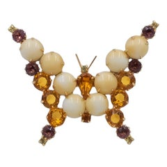 Vintage Faux Amber Glass Brooch