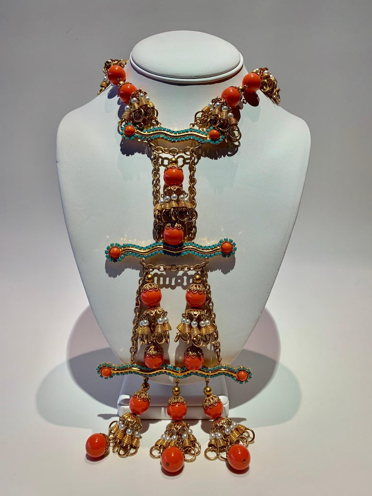 Vintage Faux Angel Skin Coral and Persian Turquoise Gilt Statement Necklace  For Sale 5