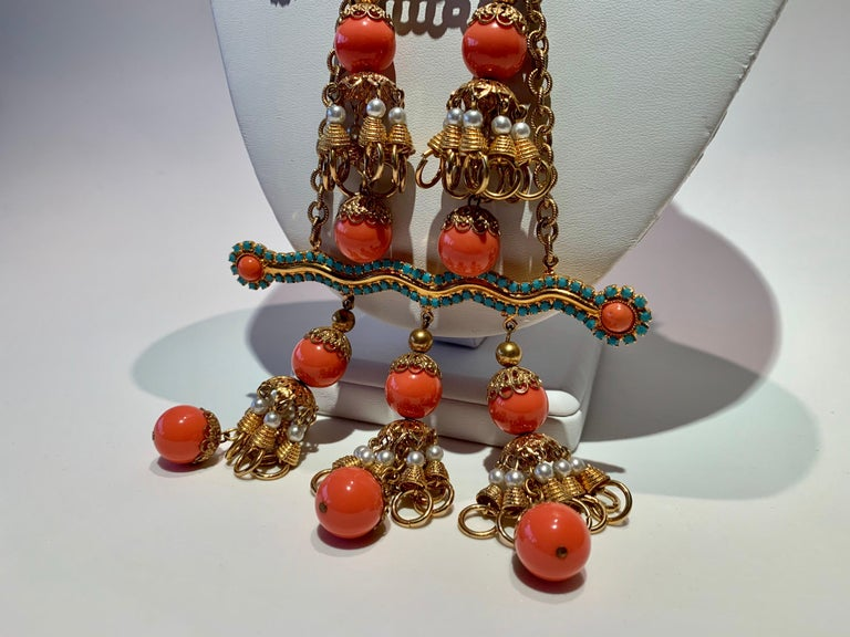 Vintage Faux Angel Skin Coral and Persian Turquoise Gilt Statement Necklace  For Sale 6