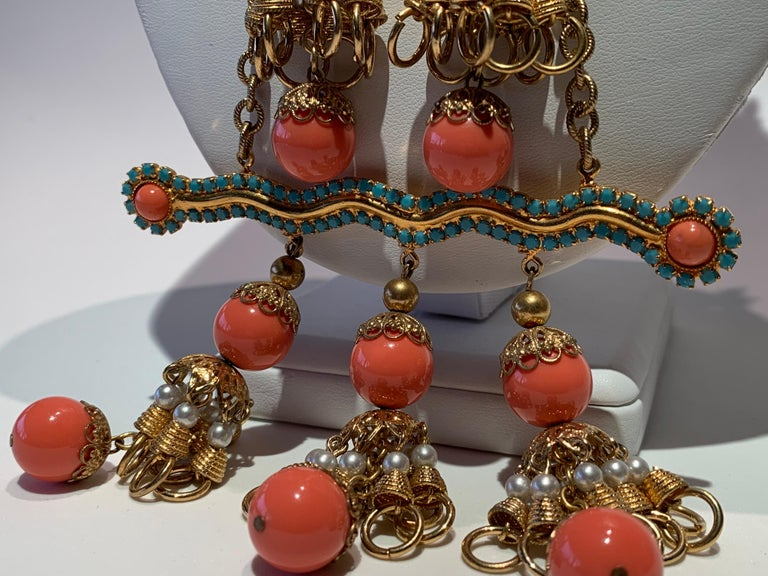 Vintage Faux Angel Skin Coral and Persian Turquoise Gilt Statement Necklace  For Sale 7