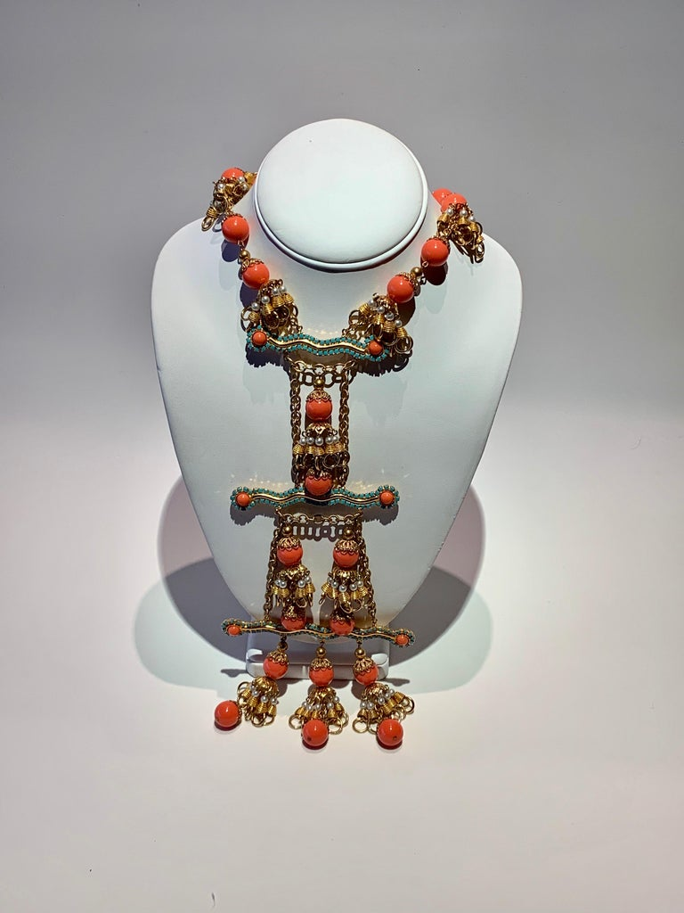 Vintage Faux Angel Skin Coral and Persian Turquoise Gilt Statement Necklace  For Sale 9