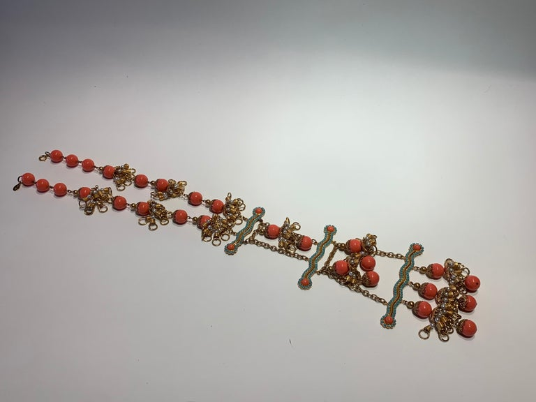 Vintage Faux Angel Skin Coral and Persian Turquoise Gilt Statement Necklace  For Sale 10