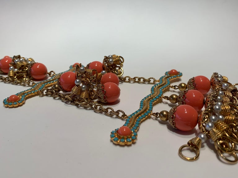 Vintage Faux Angel Skin Coral and Persian Turquoise Gilt Statement Necklace  For Sale 11