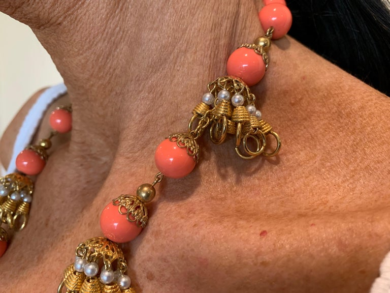 Vintage Faux Angel Skin Coral and Persian Turquoise Gilt Statement Necklace  For Sale 2