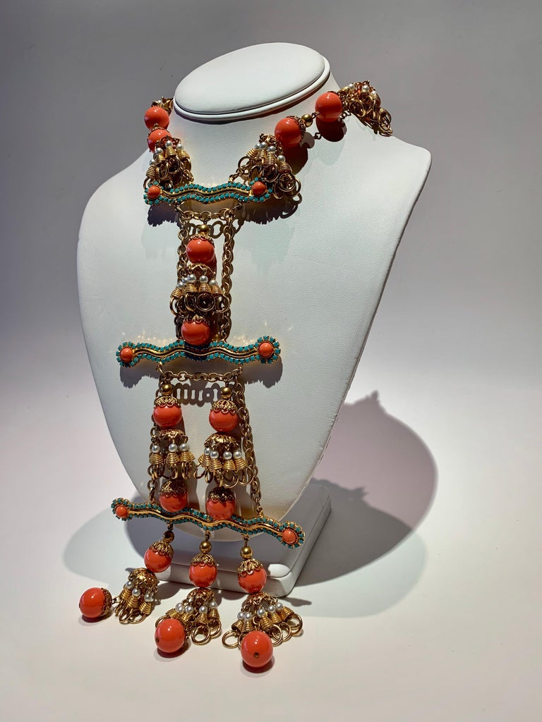 Vintage Faux Angel Skin Coral and Persian Turquoise Gilt Statement Necklace  For Sale 4