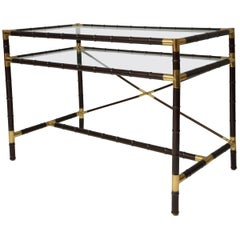 Vintage Faux-Bamboo and Brass Writing Desk/ Console