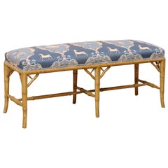 Vintage Faux-Bamboo Carved Wood Bench with Upholstered Seat
