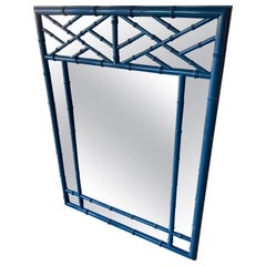 Vintage Faux Bamboo Chinese Chippendale Blue Lacquered Wall Mirror