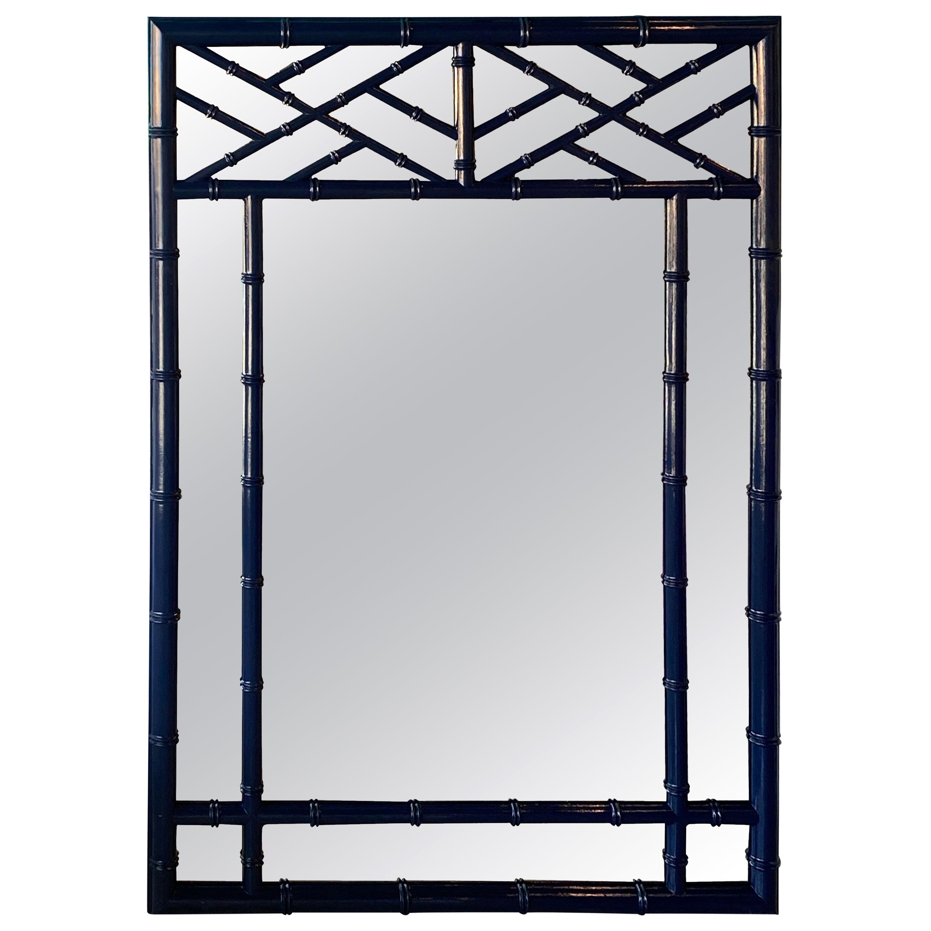 Vintage Faux Bamboo Chinese Chippendale Navy Blue Lacquered Wall Mirror