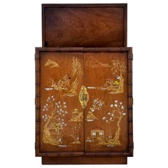 Vintage Faux Bamboo Chinoiserie Oriental Bar by Lane