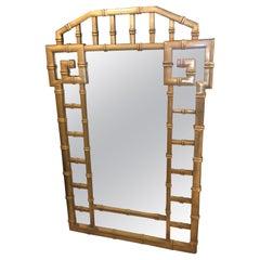 Vintage Faux Bamboo Gold Greek Key Wall Mirror