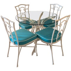 Vintage Faux Bamboo Greek Key Metal Powder-coated Dining Table & Chairs Set