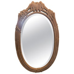 Vintage Faux Bamboo Pagoda Leaf Top Oval Wall Mirror