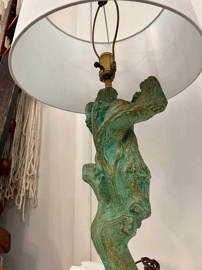 Organic Modern Vintage Faux Bois Plaster Driftwood Lamps, Pair For Sale