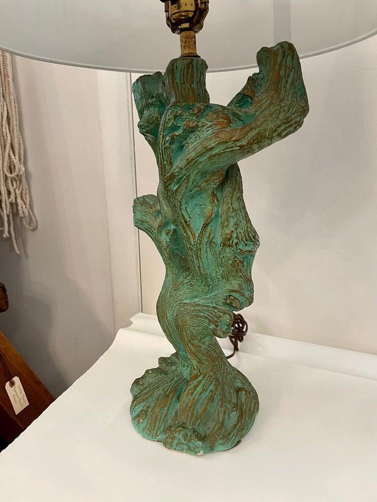 American Vintage Faux Bois Plaster Driftwood Lamps, Pair For Sale