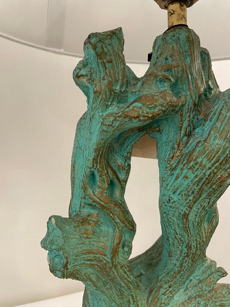Vintage Faux Bois Plaster Driftwood Lamps, Pair For Sale 1