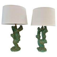 Vintage Faux Bois Plaster Driftwood Lamps, Pair