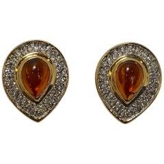Vintage Faux Citrine & Clear Crystal Earrings