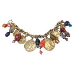 Vintage Faux Coin & Art Glass Bead Charm Bracelet