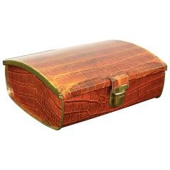 Vintage Faux Croc Tin Box for Cote D'or Chocolate