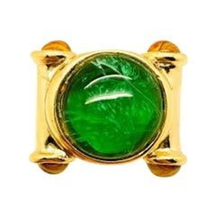 Vintage Faux Emerald Cocktail Ring 1980s